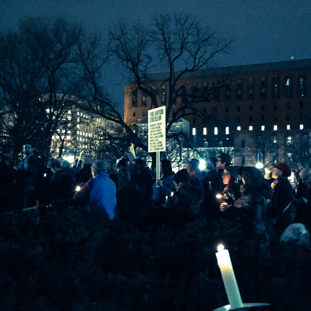 Candlelight vigil for free speech, hosted by Split This Rock